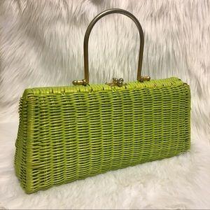 Vintage bright green woven purse